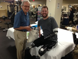 Jim with disabled veteran @ Walter Reed